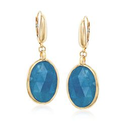 "11.00 ct. t.w. Blue Quartz Drop Earrings in 14kt Yellow Gold. 1 1/2"", , default"