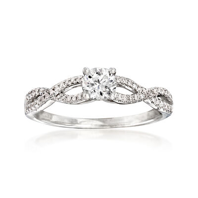 .53 ct. t.w. Diamond Twist Engagement Ring in 14kt White Gold, , default