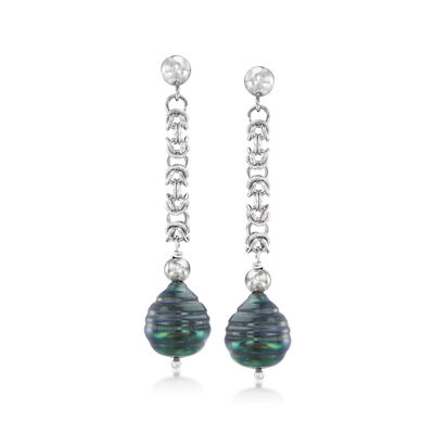 10.5-11.5mm Black Cultured Tahitian Pearl Byzantine Drop Earrings in Sterling Silver