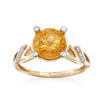2.20 Carat Citrine Ring with Diamond Accents in 14kt Yellow Gold, , default