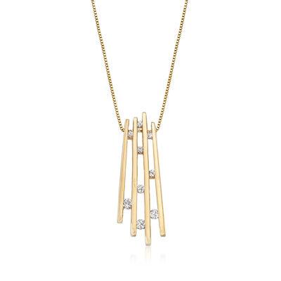 C. 1990 Vintage .25 ct. t.w. Diamond Fan Pendant Necklace in 14kt Yellow Gold, , default