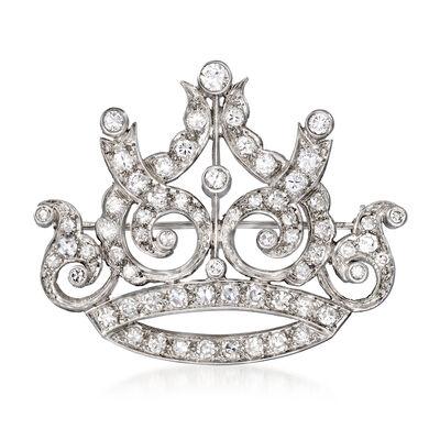 C. 1950 Vintage 2.25 ct. t.w. Diamond Crown Pin in Platinum