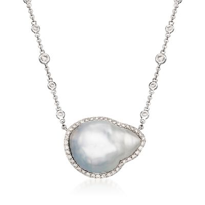 20x15mm Cultured South Sea Baroque Pearl and Diamond Necklace in 18kt White Gold, , default