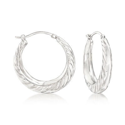 Sterling Silver Graduated Swirl Hoop Earrings , , default