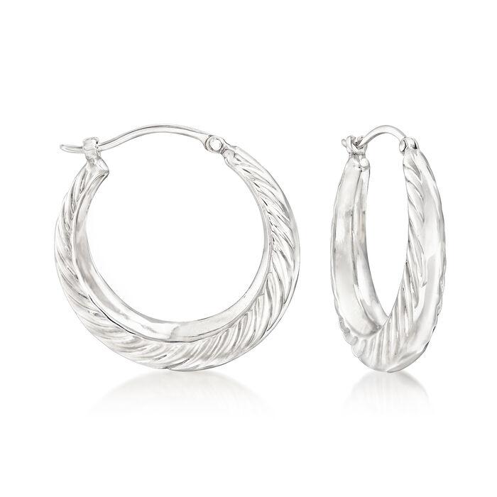 """Sterling Silver Graduated Swirl Hoop Earrings. 7/8"""", , default"""