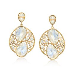 Moonstone Cluster Drop Earrings in 18kt Yellow Gold Over Sterling Silver, , default