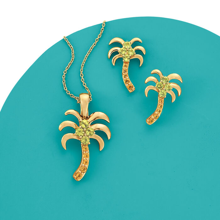 .50 ct. t.w. Peridot and .17 ct. t.w. Citrine Palm Tree Drop Earrings in 14kt Yellow Gold