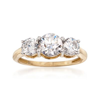 2.00 ct. t.w. CZ Three-Stone Ring in 14kt Yellow Gold, , default