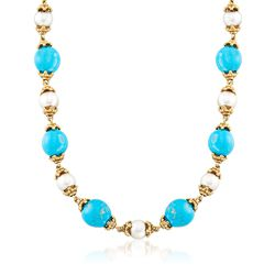"C. 1980 Vintage 10mm Cultured Pearl and Turquoise Bead Necklace in 14kt Yellow Gold. 16"", , default"