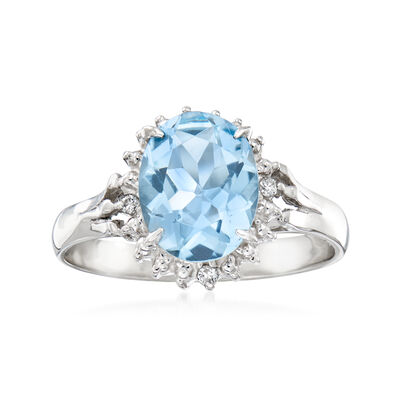 C. 1990 Vintage 1.66 Carat Aquamarine Ring with Diamond Accents in Platinum