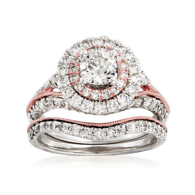2.00 ct. t.w. Diamond Bridal Set: Engagement and Wedding Rings in 14kt Two-Tone Gold, , default