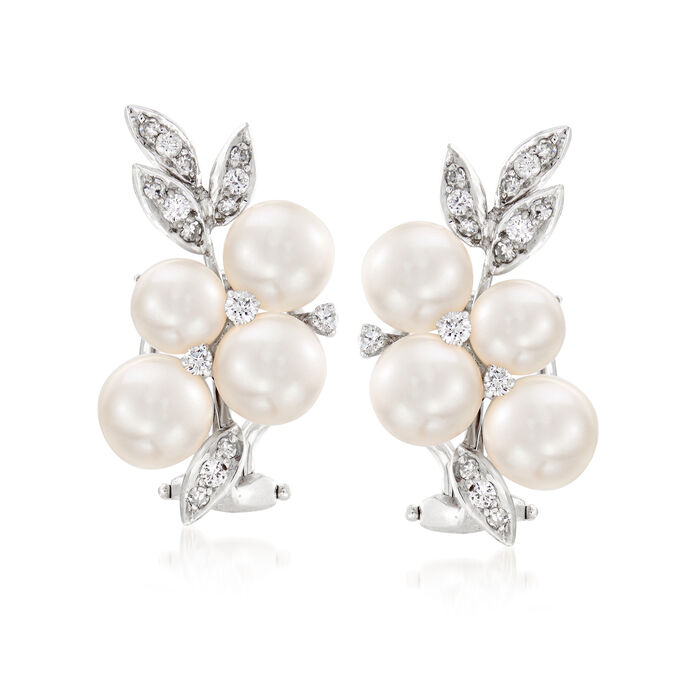 C. 1980 Vintage 6mm Cultured Pearl and .50 ct. t.w. Diamond Cluster Clip-On Earrings in 14kt White Gold, , default