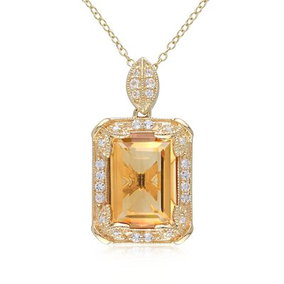 6.00 Carat Citrine and .44 ct. t.w. White Topaz Necklace With Diamonds in 14kt Gold Over Sterling, , default