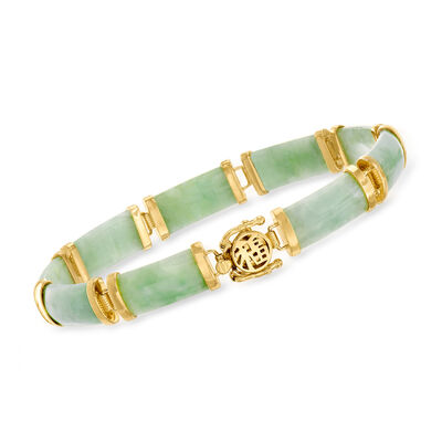 "Green Jade ""Good Fortune"" Bracelet in 18kt Gold Over Sterling"