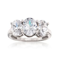 4.00 ct. t.w. Oval CZ Three-Stone Ring in 14kt White Gold, , default
