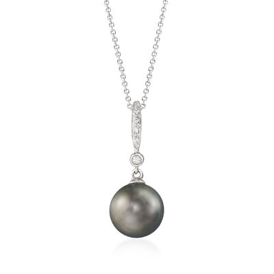 9-10mm Black Cultured Tahitian Pearl Pendant Necklace with Diamond Accents in 14kt White Gold, , default