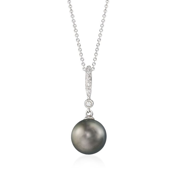 "9-10mm Black Cultured Tahitian Pearl Pendant Necklace with Diamond Accents in 14kt White Gold. 18"", , default"