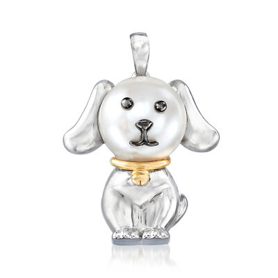9.5-10mm Cultured Pearl Dog Pendant in Sterling Silver with 14kt Yellow Gold, , default