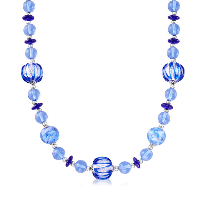 Italian Murano Glass Bead Necklace in Sterling Silver, , default