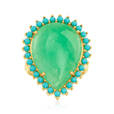 Jade and Simulated Turquoise Ring in 18kt Gold Over Sterling