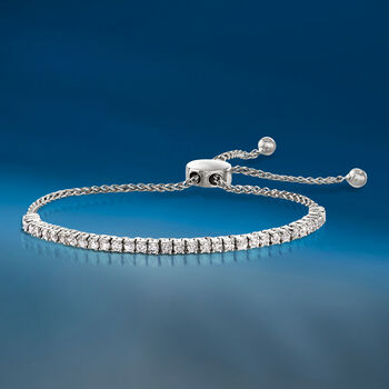 1.00 ct. t.w. Diamond Bolo Bracelet in 14kt White Gold