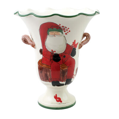 "Vietri ""Old St. Nick"" Large Footed Cachepot from Italy"