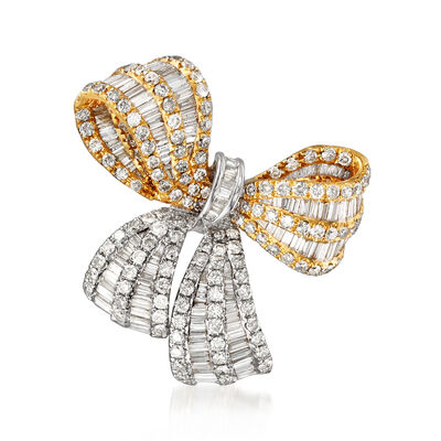3.55 ct. t.w. Diamond Bow Pin/Pendant in 18kt Two-Tone Gold, , default