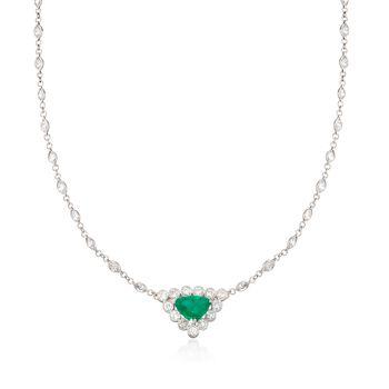 "C. 1990 Vintage 1.80 Carat Emerald and 5.15 ct. t.w. Diamond Necklace in Platinum. 18.5"", , default"