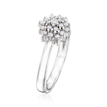 C. 1990 Vintage Giantti .25 ct. t.w. Diamond Cluster Ring in 18kt White Gold. Size 7
