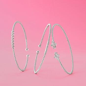 "Gabriel Designs .40 ct. t.w. Diamond Clover Cuff Bracelet in 14kt White Gold. 7"""