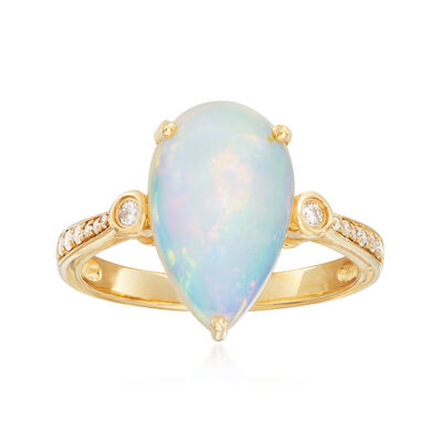 Opal and .14 ct. t.w. Diamond Ring in 14kt Yellow Gold
