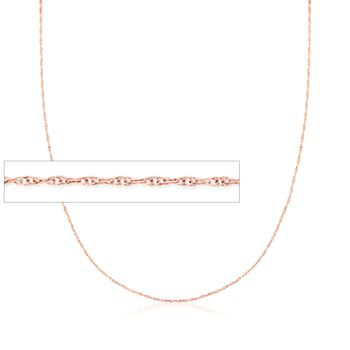 .7mm 14kt Rose Gold Rope Chain Necklace, , default