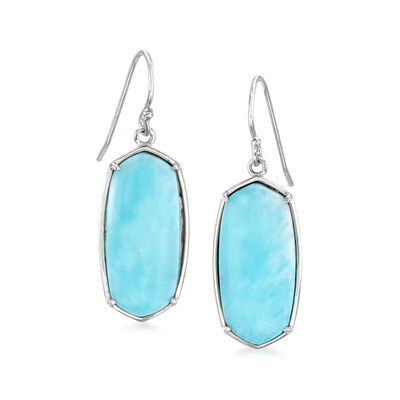 Larimar Hexagon Drop Earrings in Sterling Silver, , default