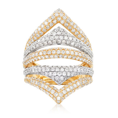 2.00 ct. t.w. Pave Diamond Five-Row Ring in 14kt Two-Tone Gold