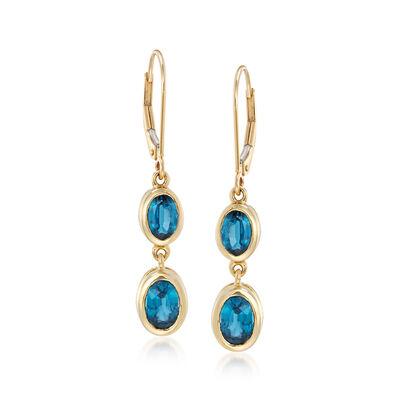 2.90 ct. t.w. Kyanite Drop Earrings in 14kt Yellow Gold, , default