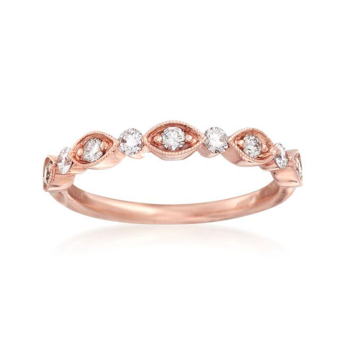Henri Daussi .30 ct. t.w. Diamond Wedding Ring in 18kt Rose Gold, , default