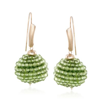 18.00 ct. t.w. Peridot Bead Drop Earrings in 14kt Yellow Gold, , default