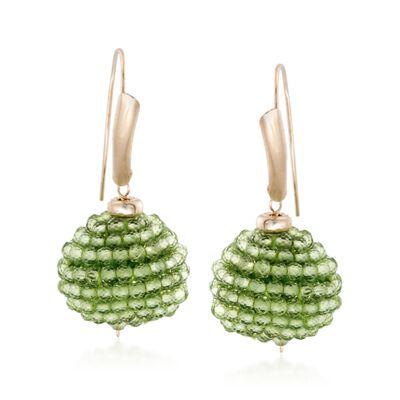 18.00 ct. t.w. Peridot Bead Drop Earrings in 14kt Yellow Gold, , default