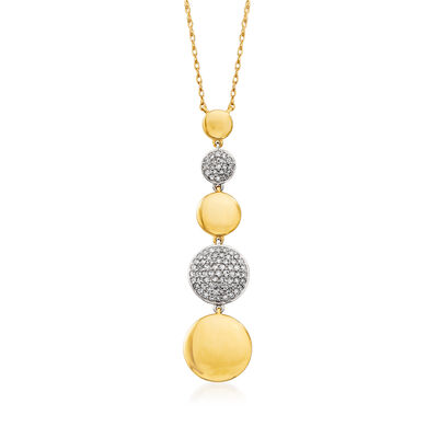 .15 ct. t.w. Pave Diamond Graduated Disc Necklace in 14kt Two-Tone Gold