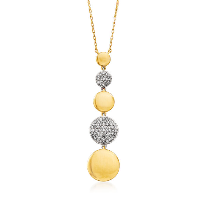 """.15 ct. t.w. Pave Diamond Graduated Disc Necklace in 14kt Two-Tone Gold. 18"""""""
