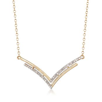 """14kt Yellow Gold Double Chevron Necklace With Diamond Accents. 18"""", , default"""