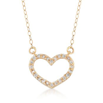 ".20 ct. t.w. CZ Heart Necklace in 14kt Yellow Gold. 18"", , default"