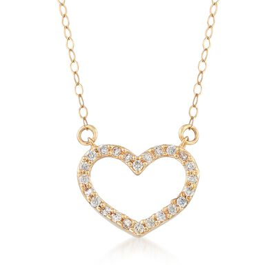 .20 ct. t.w. CZ Heart Necklace in 14kt Yellow Gold, , default