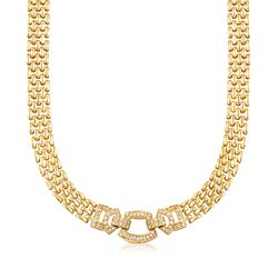 "C. 1980 Vintage 1.00 ct. t.w. Diamond Geometric Panther-Link Necklace in 14kt Yellow Gold. 16.25"", , default"