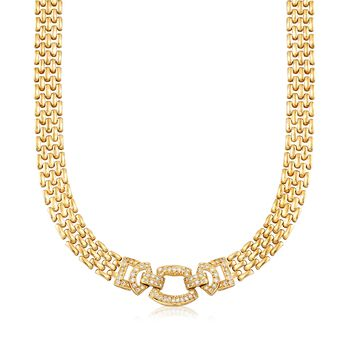 """C. 1980 Vintage 1.00 ct. t.w. Diamond Geometric Panther-Link Necklace in 14kt Yellow Gold. 16.25"""", , default"""