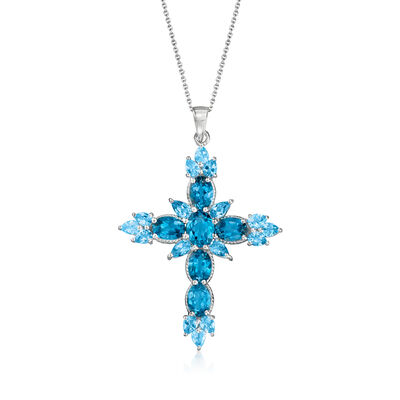 7.10 ct. t.w. London and Swiss Blue Topaz Cross Pendant Necklace in Sterling Silver