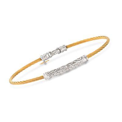 """ALOR """"Classique"""" .10 ct. t.w. Diamond Yellow Cable Bracelet With 18kt White Gold, , default"""