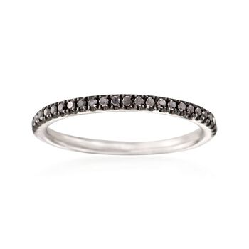 Henri Daussi .18 ct. t.w. Black Diamond Wedding Ring in 18kt White Gold. Size 5.75, , default