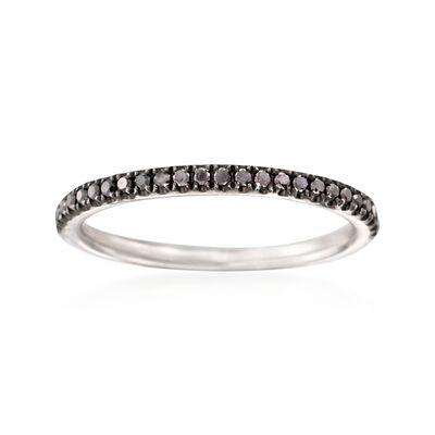 Henri Daussi .18 ct. t.w. Black Diamond Wedding Ring in 18kt White Gold, , default