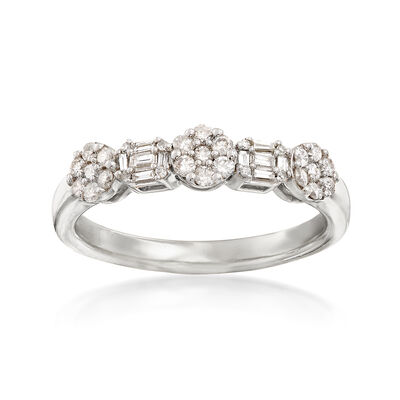 .35 ct. t.w. Round and Baguette Diamond Ring in 14kt White Gold